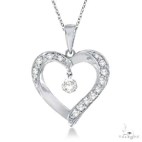 Open Heart Swirl Diamond Pendant Necklace 14k White Gold Stone