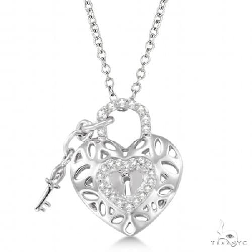Diamond Heart Key and Lock Pendant Necklace Sterling Silver Stone
