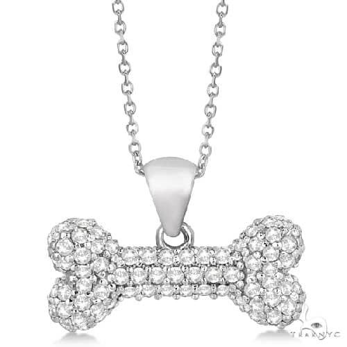 Pave Diamond Dog Bone Pendant Necklace 14K White Gold Stone