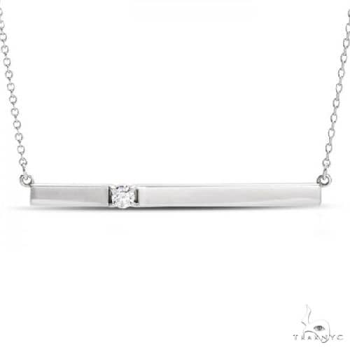 Horizontal Bar Necklace with Diamond Accent 14k White Gold Stone
