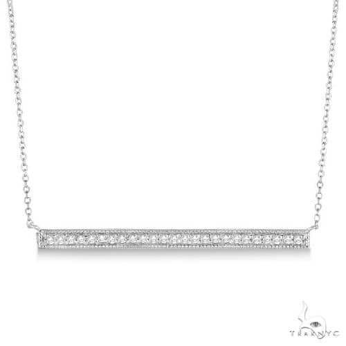 Pave Set Horizontal Diamond Bar Necklace 14k White Gold Stone