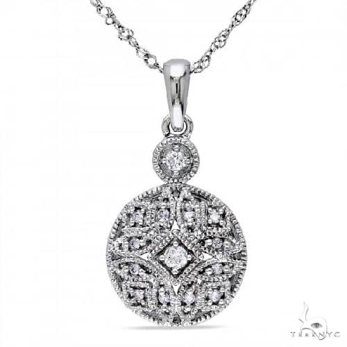 Vintage, Pave Set Diamond Pendant Necklace in 14k White Gold 0.12ct Stone