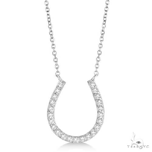 Pave Set Diamond Horseshoe Pendant Necklace 14k White Gold Stone
