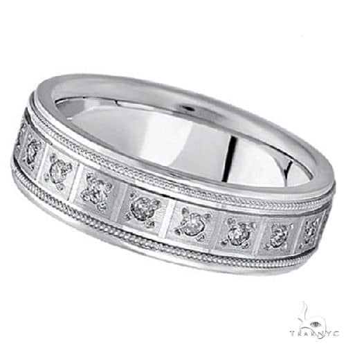 Diamond Wedding Band for Men in a Pave Setting 14k White Gold Stone