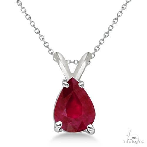 Pear Cut Ruby Solitaire Pendant Necklace 14K White Gold Stone