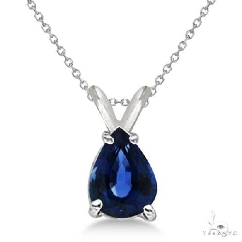 Pear Cut Sapphire Solitaire Pendant Necklace 14K White Gold Stone