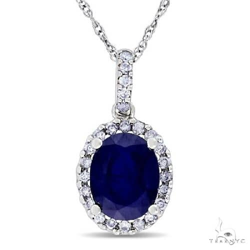 Blue Sapphire and Halo Diamond Pendant Necklace in 14k White Gold 2.90ct Stone