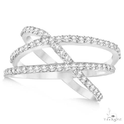 Three Band Intertwined Abstract Diamond Ring 14k White Gold Anniversary/Fashion