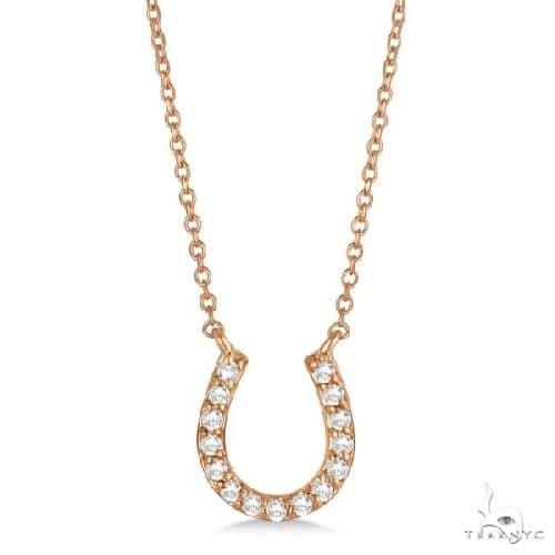 Pave Set Diamond Horseshoe Pendant Necklace 14k Rose Gold Stone