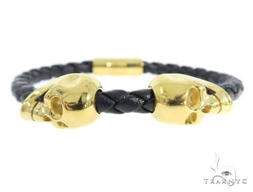 Skull Head Leather Bracelet 56482 Stainless Steel