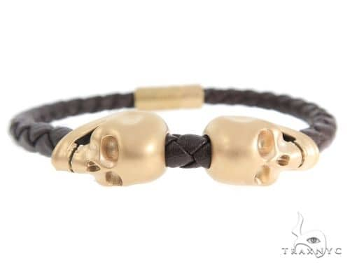 Skull Head Leather Bracelet Silver