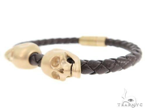 Skull Head Leather Bracelet Silver
