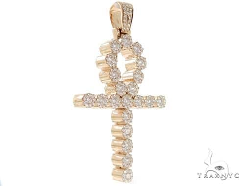 Prong Diamond Ankh Cross Crucifix Pendant 56547 Metal