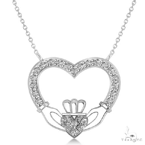 Womens Diamond Irish Claddagh Necklace 14k White Gold Stone