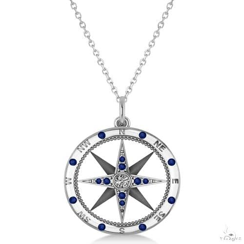 Compass Pendant Blue Sapphire and Diamond Accented 14k White Gold Stone