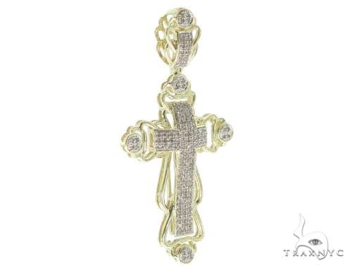10K Yellow Gold Prong Diamond Cross Crucifix Pendant 56759 Diamond