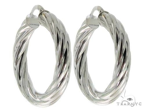 14K White Gold Twisted Hoop Earrings 56806 Metal