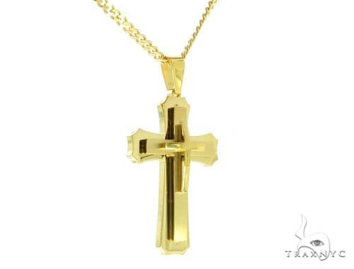 Yellow Stainless Steel Cross Crucifix Set 45605 Stainless Steel