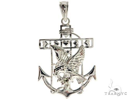 Silver American Eagle Anchor Pendant 57023 Metal