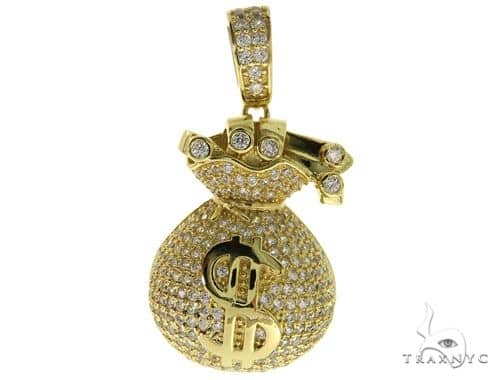 Silver Money Bag Pendant 57029 Metal
