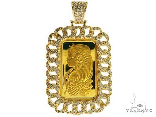 Miami Cuban Diamond Dog Tag Wtih 10g Suisse Fine Gold 999.9 57038 Metal