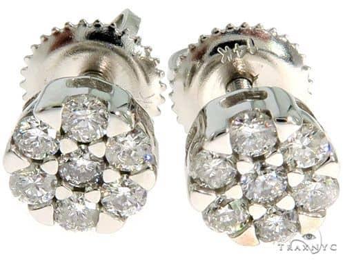 14K White Gold Prong Diamond Cluster Earrings 57044 Stone