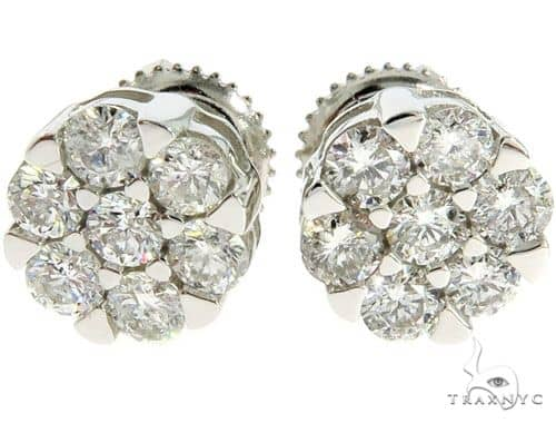 14K White Gold Prong Diamond Cluster Earrings 57045 Stone