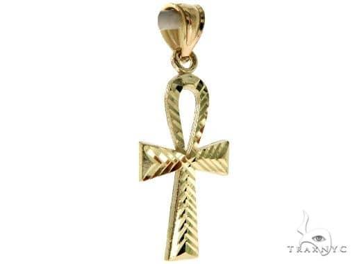 10K Yellow Gold Small Ankh Cross Crucifix 57104 Gold