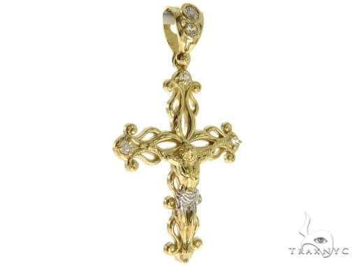 CZ 10K Yellow Gold Jesus Cross Crucifix 57106 Gold