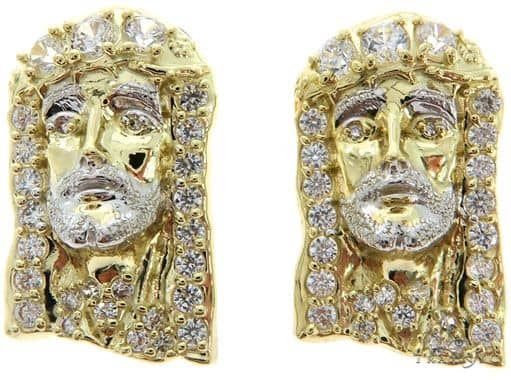CZ 10K Two Tone Gold Jesus Studs 57128 Metal