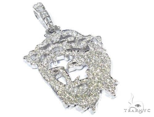14K WG Prong Diamond Jesus Pendant 57132 Metal