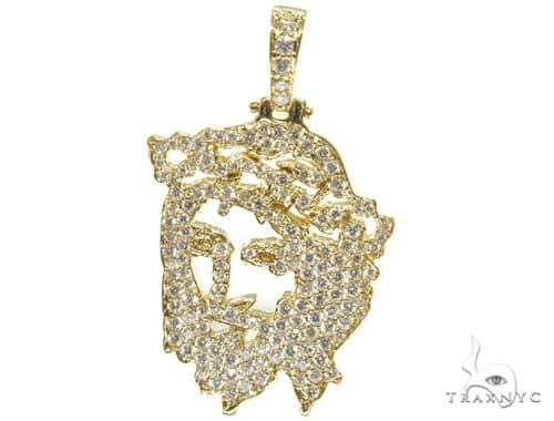 14K YG Prong Diamond Jesus Pendant 57133 Metal