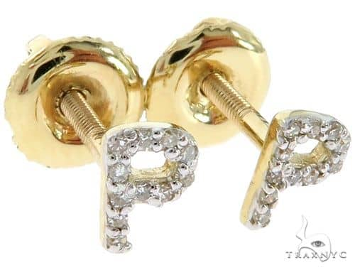 Prong Diamond Initial 'P' Earrings 57144 Stone