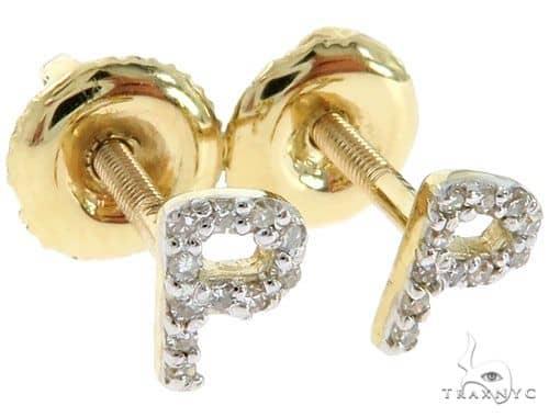 Prong Diamond Initial 'P' Earrings 57144 Stone