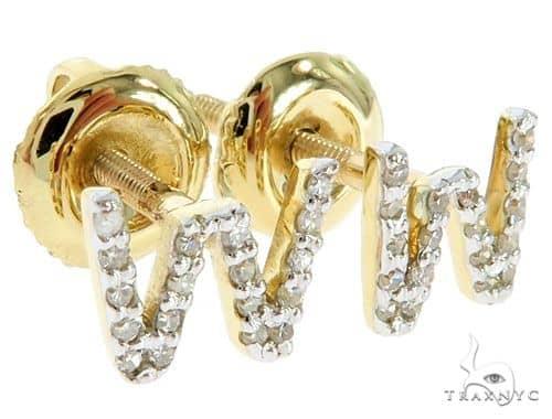 Prong Diamond Initial 'W' Earrings 57147 Stone