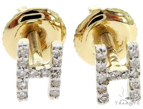 Prong Diamond Initial 'H' Earrings 57149 Stone