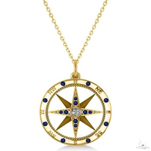 Compass Pendant Blue Sapphire and Diamond Accented 14k Yellow Gold Stone