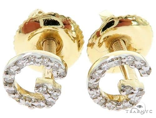 Prong Diamond Initial 'G' Earrings 57162 Stone