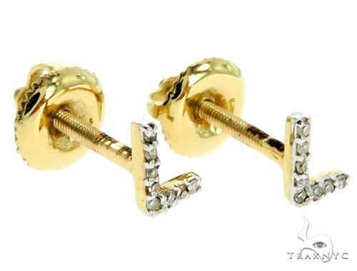 Prong Diamond Initial 'L' Earrings 57166 Stone