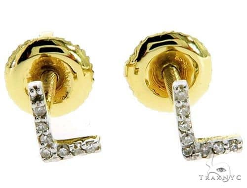 Prong Diamond Initial 'L' Earrings 57166 Stone