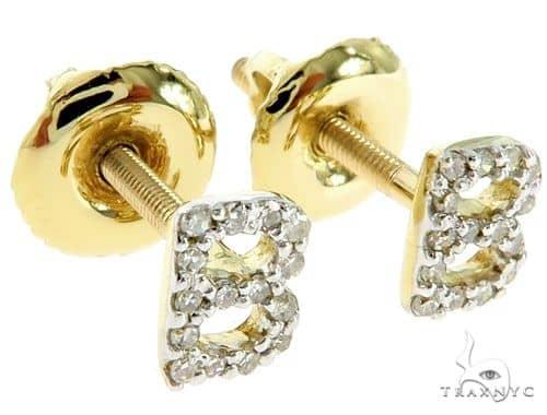 Prong Diamond Initial 'B' Earrings 57169 Stone