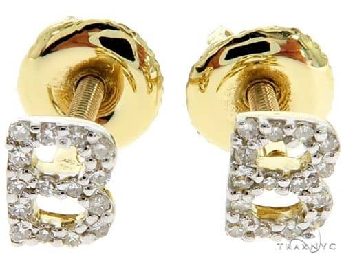 Prong Diamond Initial 'B' Earrings 57169 Stone