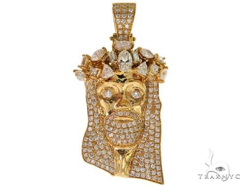 14K Yellow Gold Prong Diamond Jesus Pendant 57217 Metal