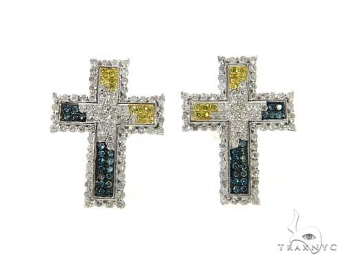 10K Cross Crucifix Diamond Earrings 57390 Stone