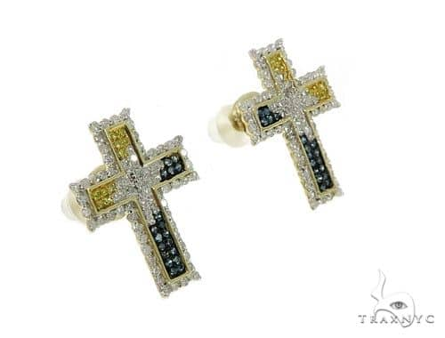 10K Cross Crucifix Diamond Earrings 57392 Stone