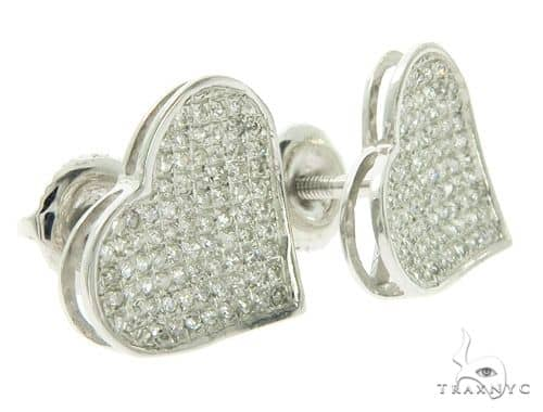 10K Heart Diamond Earrings 57394 Stone