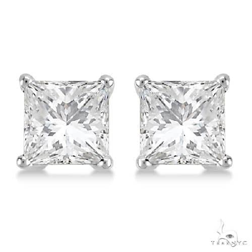 Princess Diamond Stud Earrings 14kt White Gold H-I, SI2-SI3 Stone