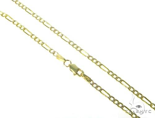 10KY Hollow Figaro Link Diamond Cut Chain 18 Inches 2.5mm 2.2 Grams 57619 Gold