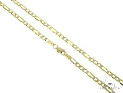 10KY Hollow Figaro Link Diamond Cut Chain 20 Inches 3mm 4.1 Grams 57622 Gold