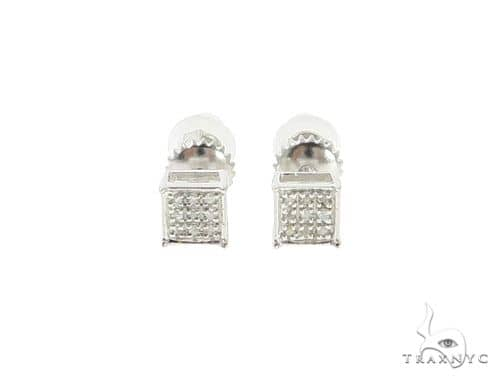 Small Square Diamond Silver Earrings 57688 Metal